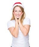 Cute woman with christmas hat Royalty Free Stock Photography