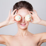 Cute Woman with Cup Cake Royalty Free Stock Photos
