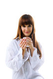 Cute woman with cup of tea Stock Photo