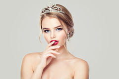 Cute Woman in Diamonds Crown Stock Photography
