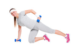 Cute woman doing exercises Stock Images