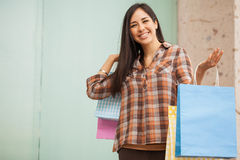Cute woman doing some shopping at the mall Royalty Free Stock Image