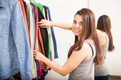 Cute woman in a dressing room Royalty Free Stock Photos