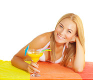 Cute woman drink cocktail Stock Photo