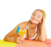 Cute woman drink tropical cocktail Royalty Free Stock Photos