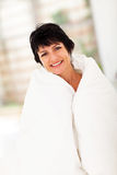 Cute woman duvet Stock Photo