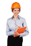 Cute woman engineer in protective helmet Royalty Free Stock Images