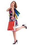 Cute woman enjoyed shopping Royalty Free Stock Image