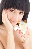 Cute woman with flower Royalty Free Stock Photo