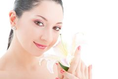 Cute woman with flower Stock Image