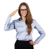 Cute woman in glasses welcomes someone Stock Images