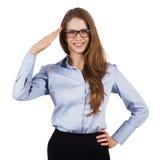 Cute woman in glasses welcomes someone. Cute smiling woman in glasses welcomes someone Stock Images