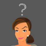 Cute woman has a question Royalty Free Stock Image