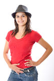 Cute Woman in hat Stock Photo