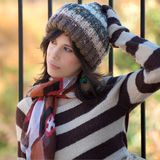 Cute Woman in Hat and Scarf Royalty Free Stock Photography