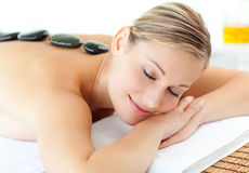 Cute woman having a massage Royalty Free Stock Image