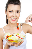 Cute woman with healty food Stock Photos