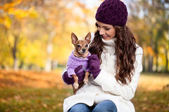 Cute woman with her Miniature Pinscher Royalty Free Stock Photo