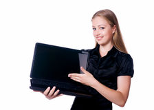 Cute woman hold laptop Royalty Free Stock Images