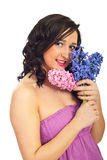 Cute woman holding hyacinth Stock Images