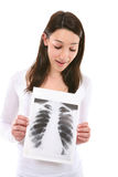 Cute Woman Holding X-Ray Royalty Free Stock Photography