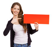 Cute woman holding a red placard Stock Photography