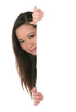 Cute Woman Holding Sign Stock Photography