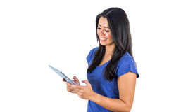 Cute woman holding a tablet pc in her hands Stock Photos