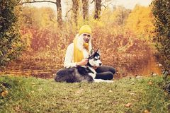 Cute Woman and Husky Dog in the Autumn Park Stock Photos