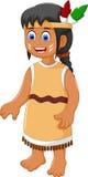 Cute woman indian tribal cartoon Stock Photography