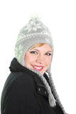 Cute woman in knitted winter cap Stock Photography