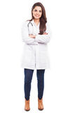 Cute woman in a lab coat Royalty Free Stock Photo
