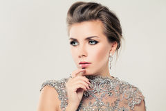 Cute Woman. Lace, Rhinestones and Jewelry Royalty Free Stock Photo