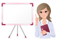 Cute woman lecturring beside white board Royalty Free Stock Photo