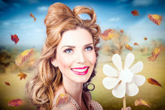 Cute woman with magnificent hair. Beauty in nature Royalty Free Stock Images