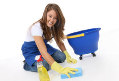 Cute Woman Maid. A cute woman maid cleaner with sponge and spray stock image