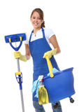 Cute Woman Maid With Mop Royalty Free Stock Image