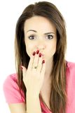 Cute woman making funny face isolated Stock Photo