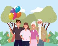 Cute woman and man couple with parents stock illustration