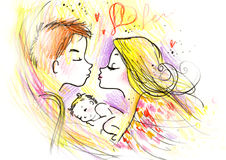 Cute Woman and Man with Their Baby. Sketchy drawing of a cute family and their newborn baby. Created with ink and colored pencils Royalty Free Stock Image