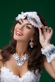 Cute woman in masquerade mask Stock Image