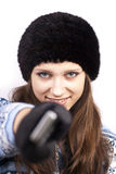 Cute woman with mobile phone Royalty Free Stock Images