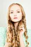 Cute Woman with Natural Makeup and Healthy Blond Hair Stock Photos
