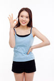 Cute woman with okay hand gesture Stock Images