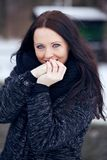 Cute Woman Outdoors in a Cold Park Stock Image