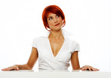 Cute woman over white Stock Photo