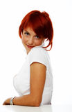 Cute woman over white Stock Images