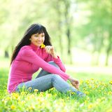 Cute woman in the park Stock Images