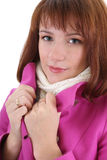 Cute woman in pink coat Stock Photography