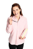 Cute woman in pink and glasses Royalty Free Stock Photo